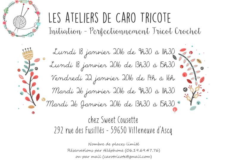 Les ateliers de janvier Tricot Crochet Villeneuve d'Ascq