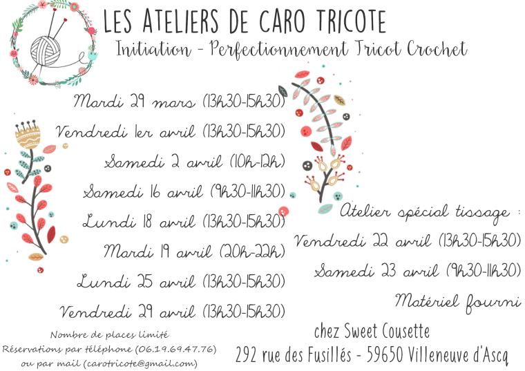 Les ateliers de Caro Tricote - Avril 2016 Apprendre le tricot et le crochet - Villeneuve d'Ascq (Lille)