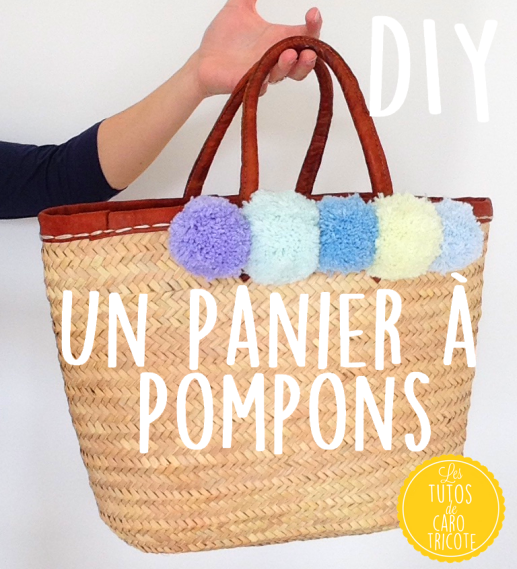 tuto customiser un panier avec des pompons le blog de caro tricote. Black Bedroom Furniture Sets. Home Design Ideas