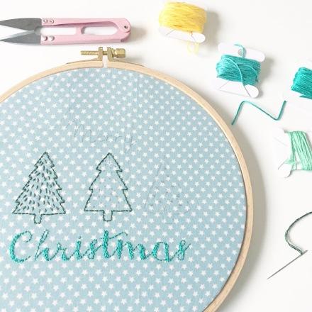 Tambour brodé Merry Christmas - Free printable inside